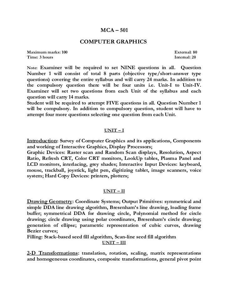 Computer graphics syllabus