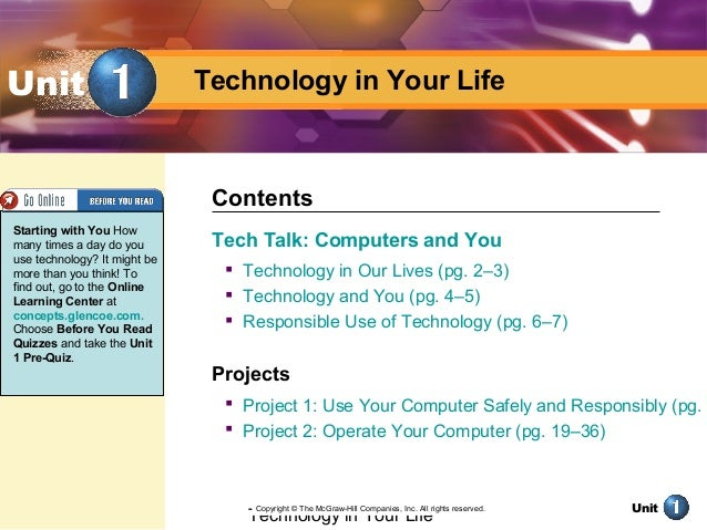 Technology in Your Life Unit Technology in Your LifeUnit Tech Talk: Computers and You  Technology in Our Lives (pg. 2–3) ...