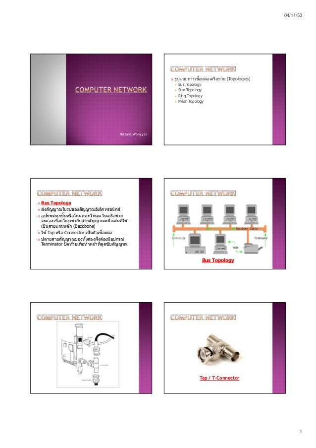 04/11/53 1 Nittaya Wongyai  รูปแบบการเชือมต่อเครือข่าย (Topologies)  Bus Topology  Star Topology  Ring Topology  Mesh...