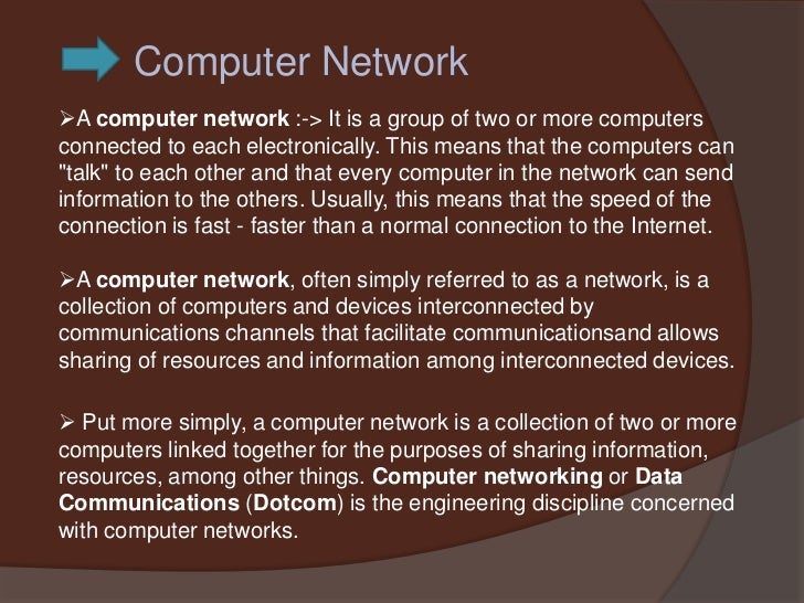 Computer NetworkA computer network :-> It is a group of two or more computersconnected to each electronically. This means...
