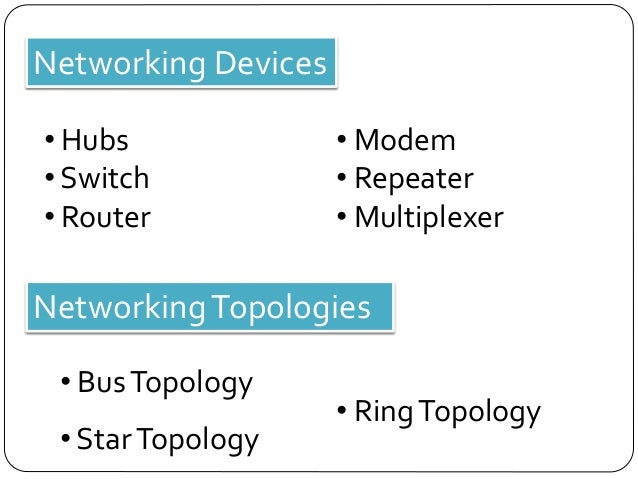 Network Router Device Networking Devices • Hubs