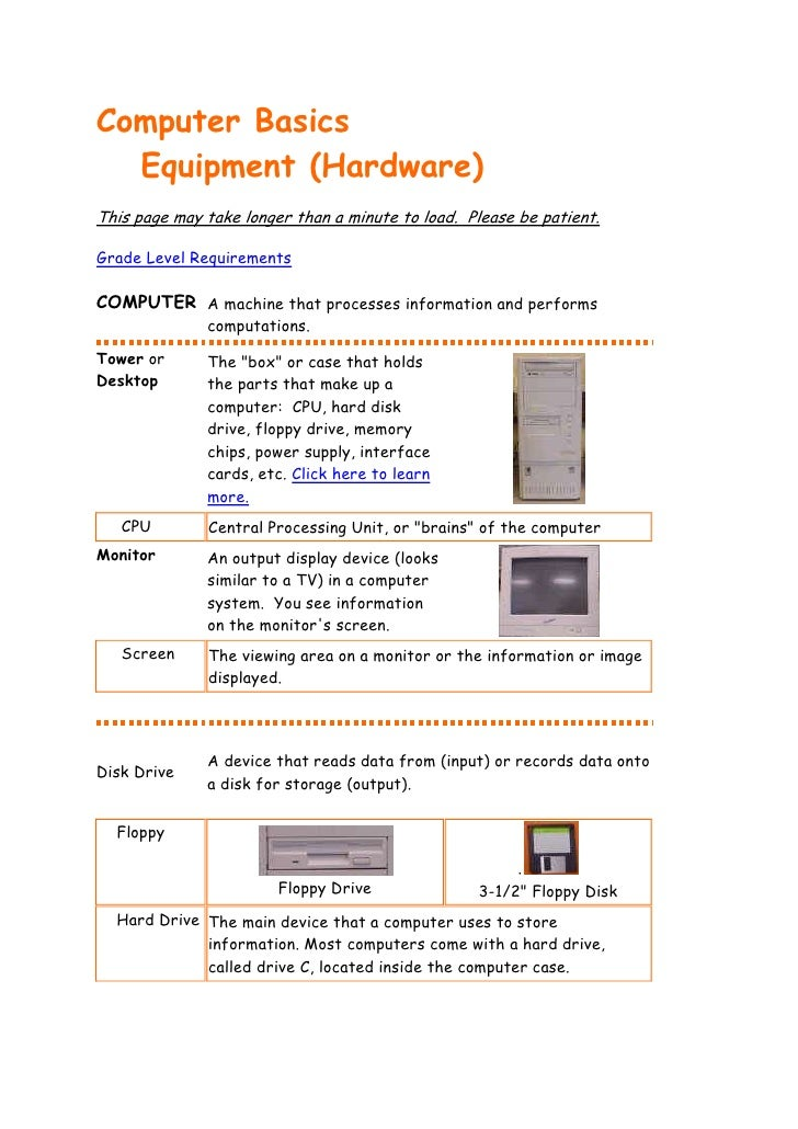 Computer Basics  Equipment (Hardware)This page may take longer than a minute to load. Please be patient.Grade Level Requir...