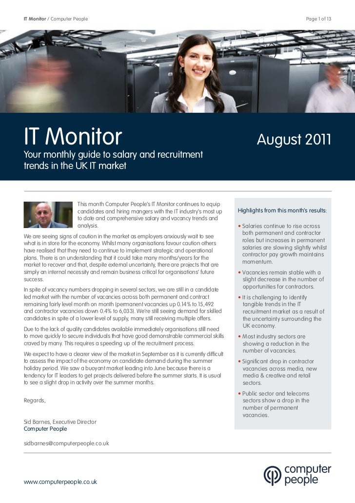 Computer People IT Monitor August 2011