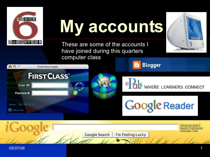 My accounts These are some of the accounts I have joined during this quarters computer class