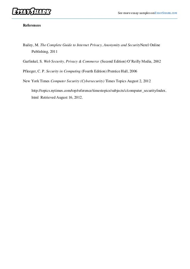 internet privacy essay thesis Free essay: internet privacy the concern about privacy on the internet is increasingly becoming an issue of international dispute citizens are becoming.