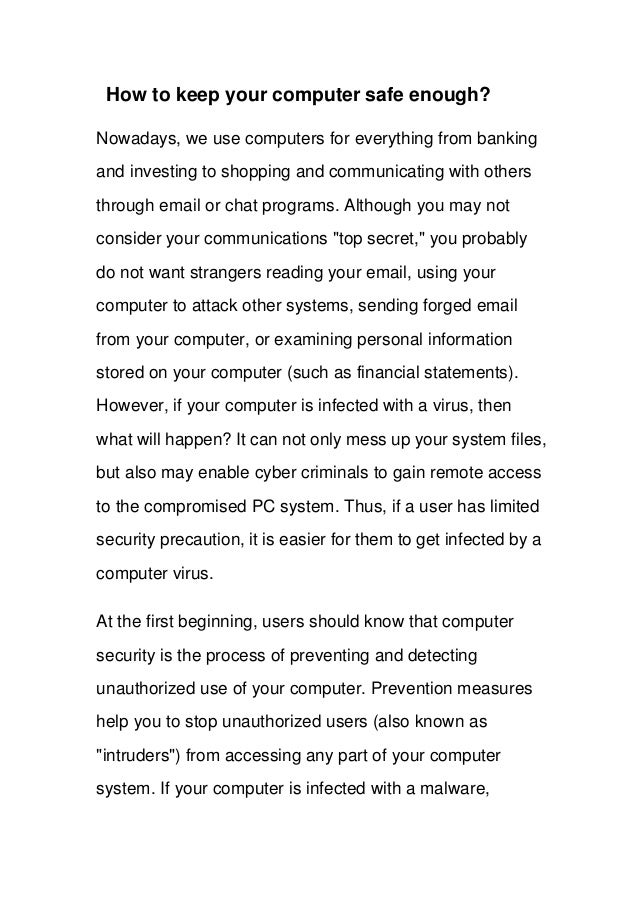 How to keep your computer secure enough?