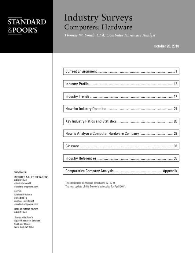 Standard & Poor's Industry Surveys: Computers, Hardware - October 28, 2010