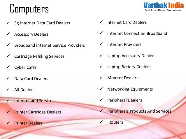  3g Internet Data Card Dealers  Accessory Dealers  Broadband Internet Service Providers  Cartridge Refilling Services ...