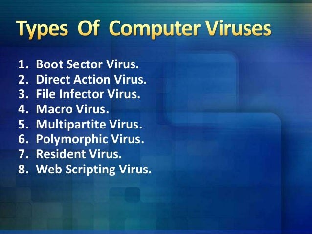 understanding a computer virus and its major types This lesson explains different types of computer viruses different types of computer virus like boot sector virus, file deleting viruses, mass mailer viruses, macro viruses, polymorphic.
