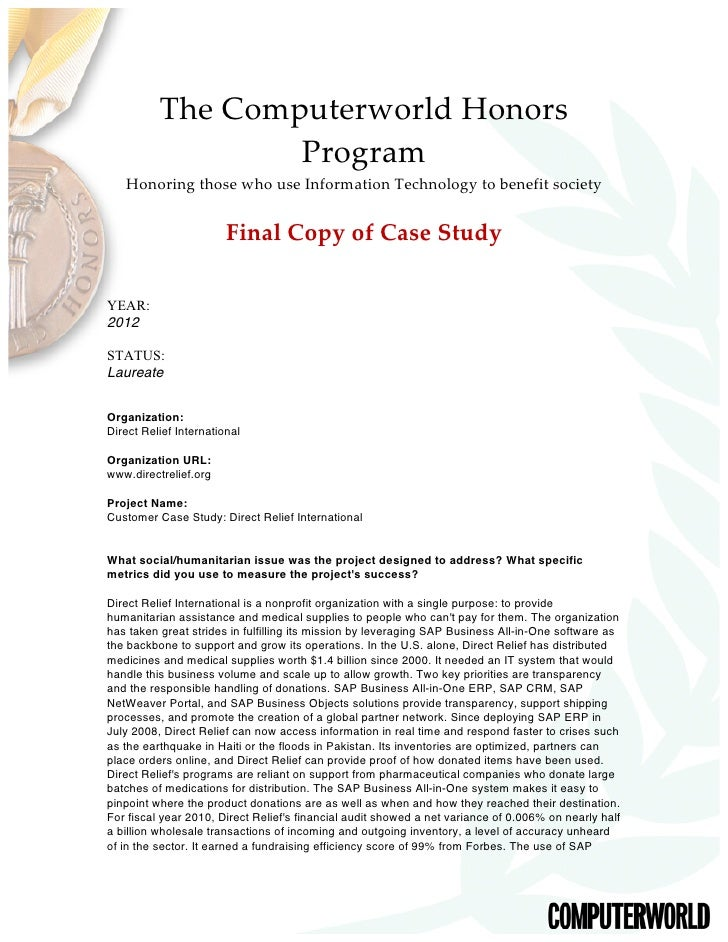 The Computerworld Honors                    Program     Honoring those who use Information Technology to benef...