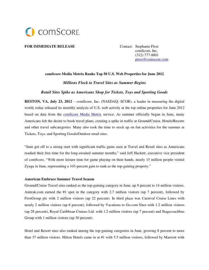 Comscore media metrix ranks top 50 u.s. web properties for june 2012