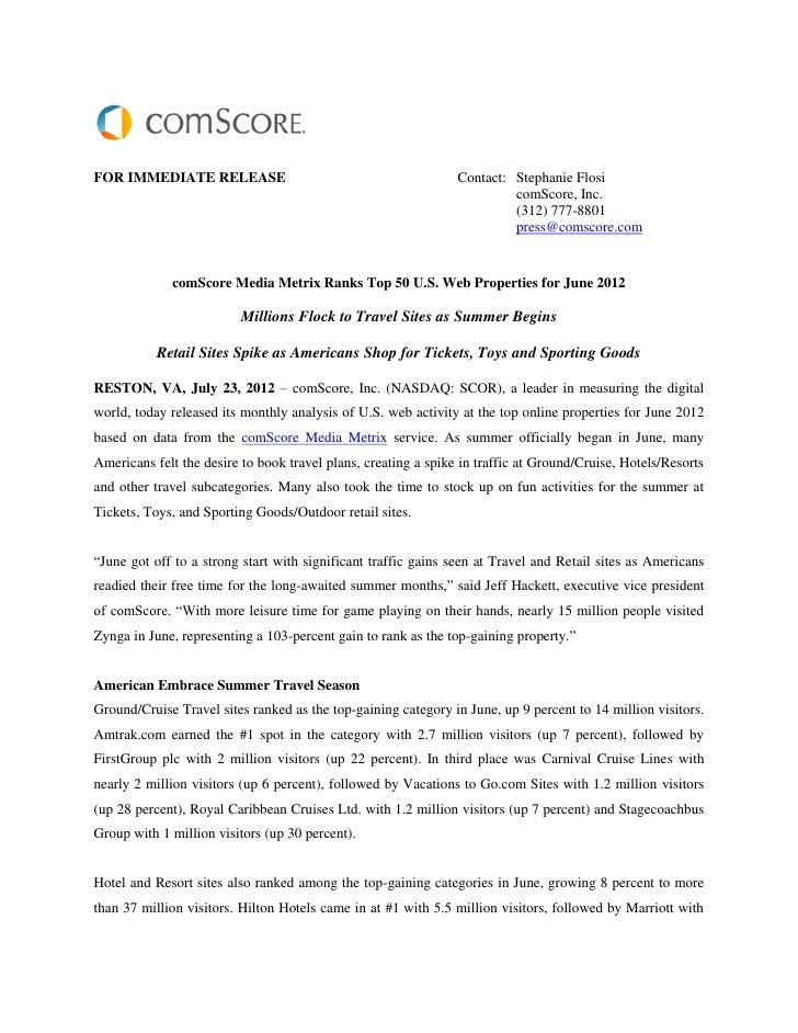 Comscore media metrix ranks top 50 u.s. web properties for june 2012