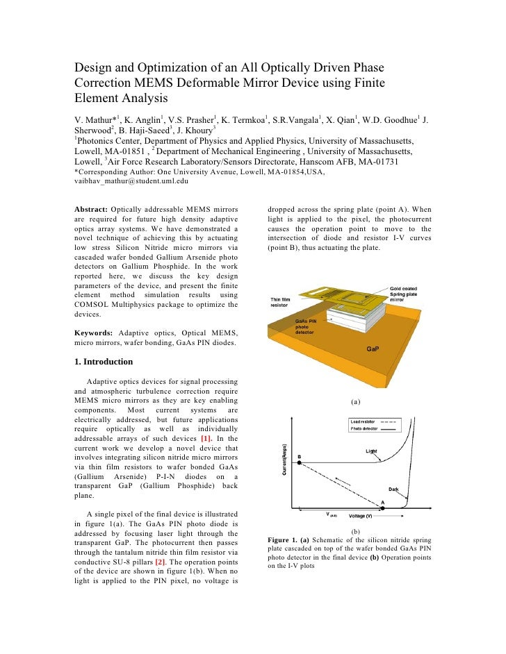 Design and Optimization of an All Optically Driven Phase Correction MEMS Deformable Mirror Device using Finite Element Ana...