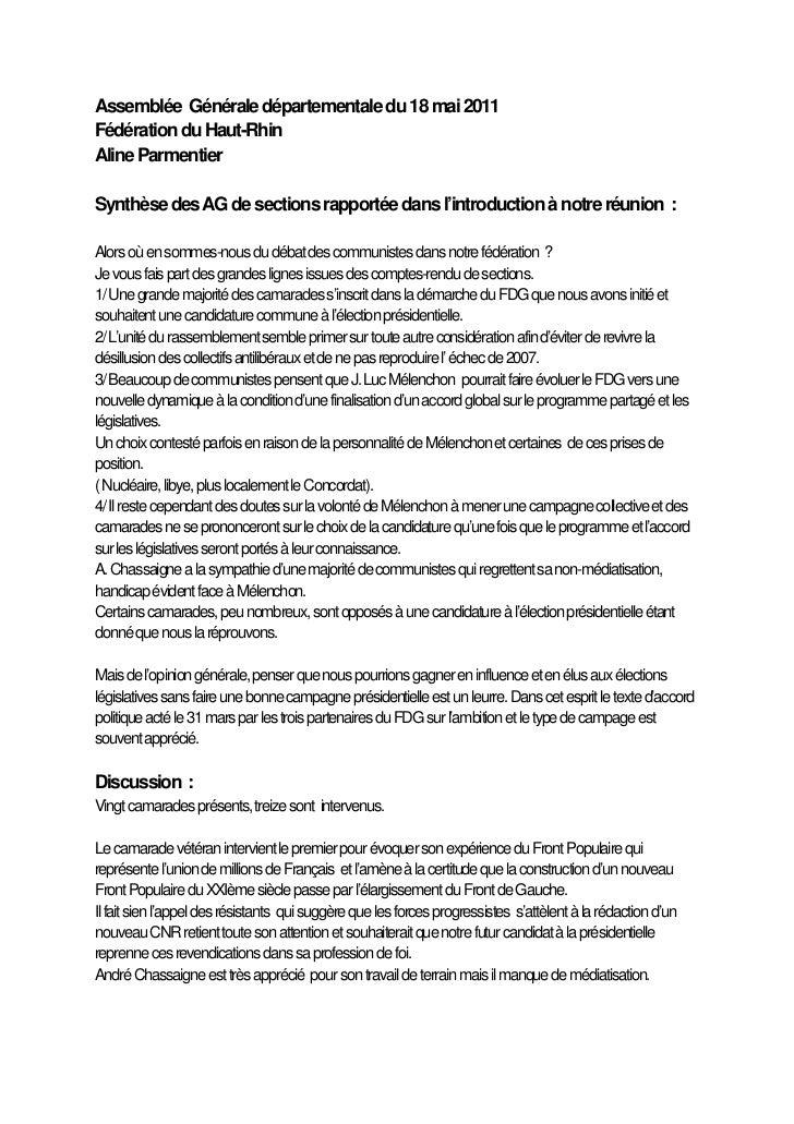 Assemblée Générale départementale du 18 mai 2011Fédération du Haut-RhinAline ParmentierSynthèse des AG de sections rapport...