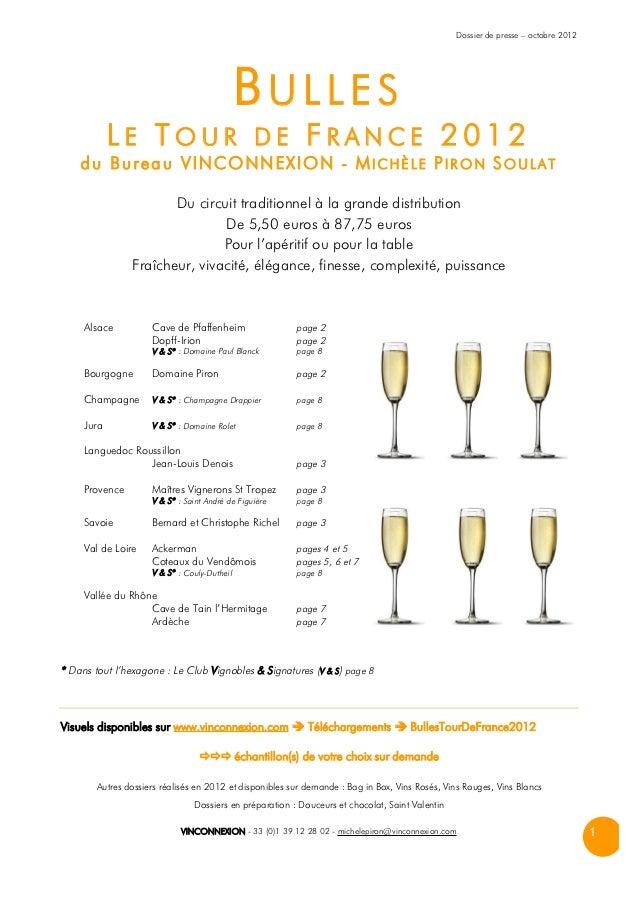 Dossier de presse – octobre 2012                                              BULLES            LE TOUR DE FRANCE 2012    ...