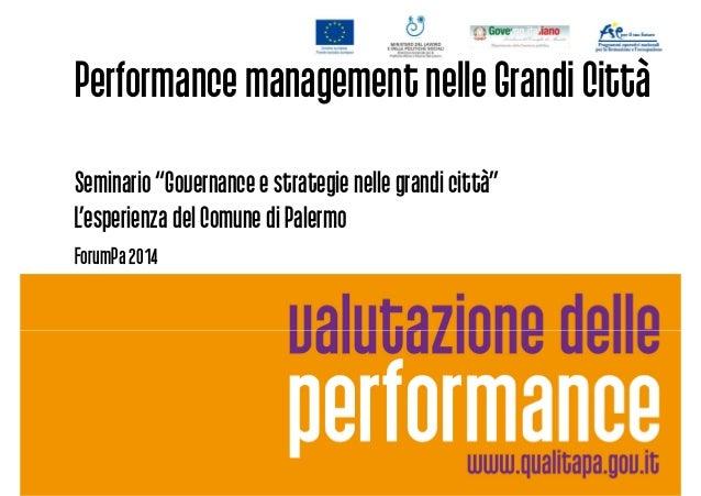 Comune di Palermo - La governance e strategie nelle grandi città