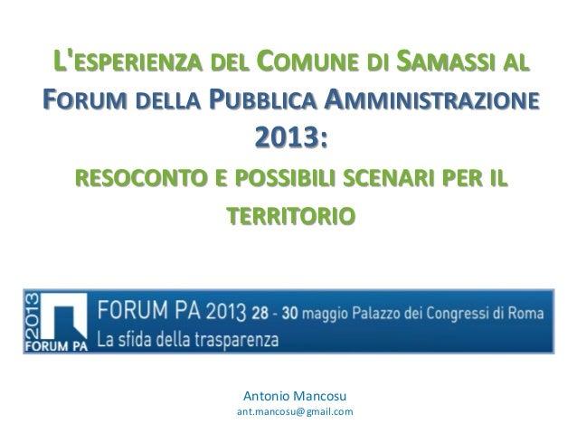 Comune di Samassi al Forum PA 2013  - Antonio Mancosu