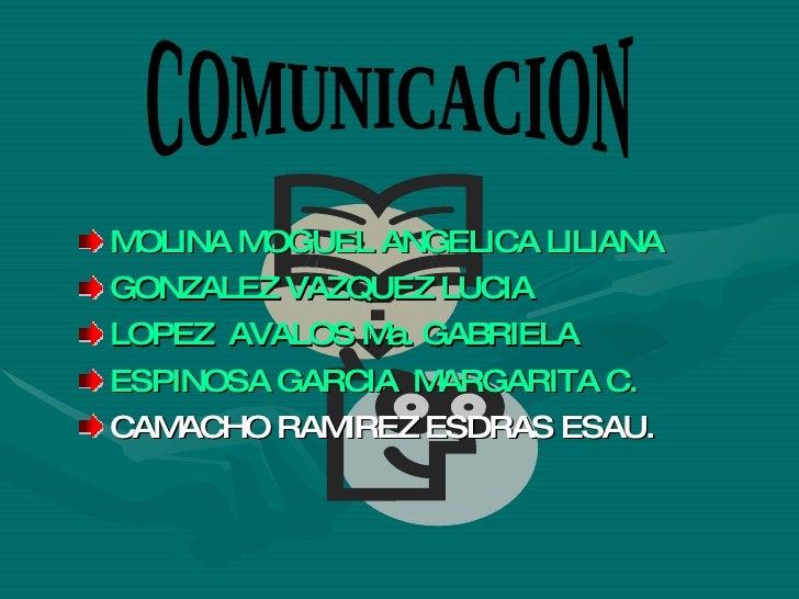 <ul><li>MOLINA MOGUEL ANGELICA LILIANA </li></ul><ul><li>GONZALEZ VAZQUEZ LUCIA </li></ul><ul><li>LOPEZ  AVALOS Ma. GABRIE...
