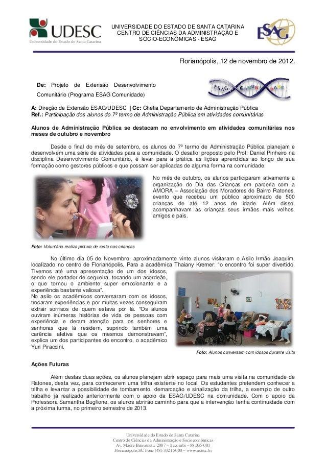 Comunicação oficial   atividades comunitárias 7termo 20122