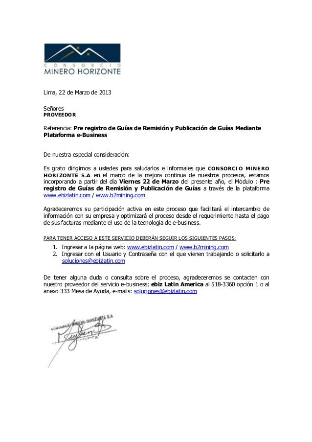 Lima, 22 de Marzo de 2013SeñoresPROVEEDORReferencia: Pre registro de Guías de Remisión y Publicación de Guías MediantePlat...