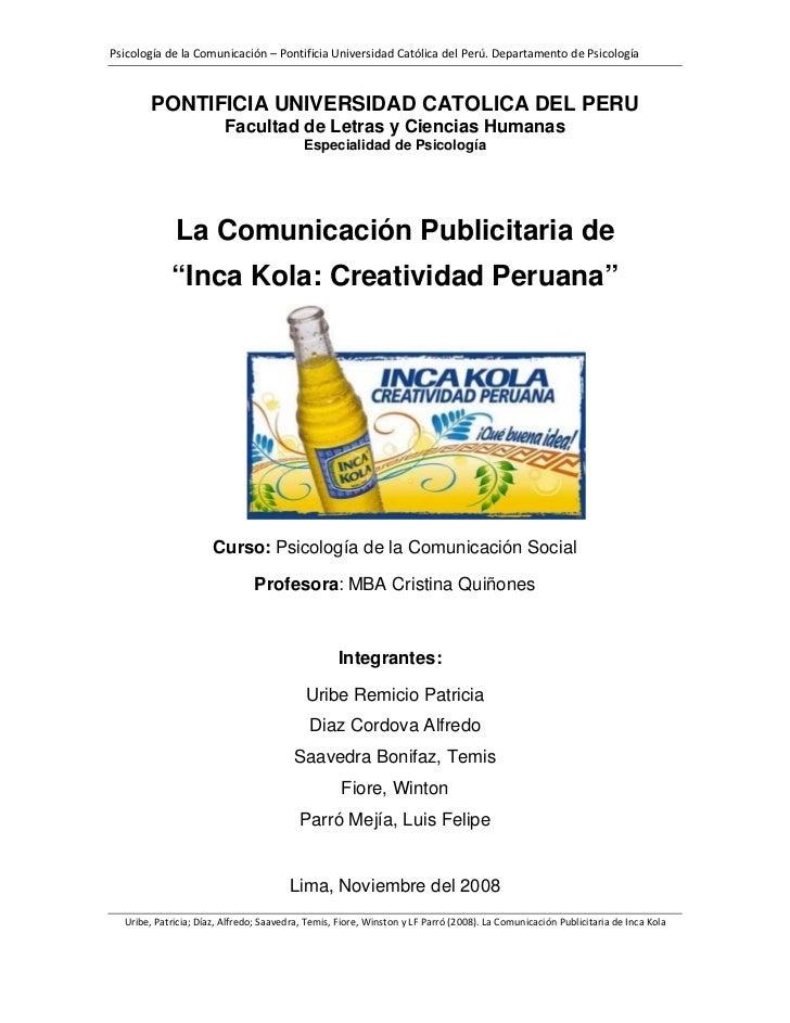 Comunicación Publicitaria: Inca Kola, la bebida de la creatividad peruana