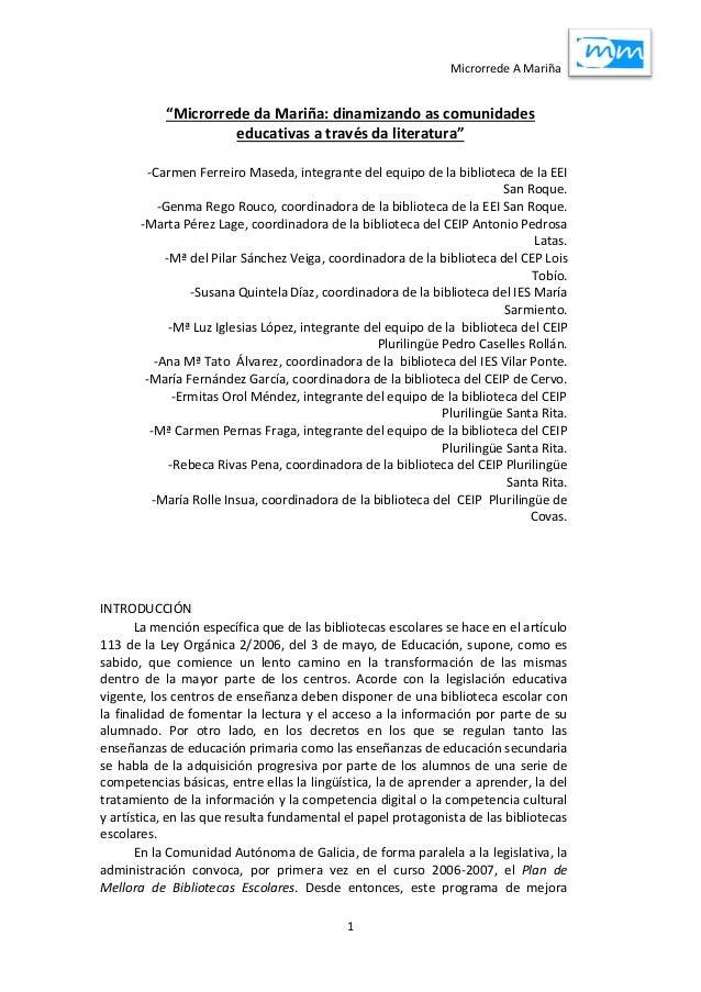 """Microrrede A Mariña 1 """"Microrrede da Mariña: dinamizando as comunidades educativas a través da literatura"""" -Carmen Ferreir..."""