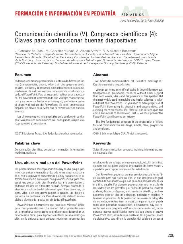 FORMACIÓN E INFORMACIÓN EN PEDIATRÍA  P E D I ÁT R I C A Acta Pediatr Esp. 2013; 71(9): 205-209  Comunicación científica (...