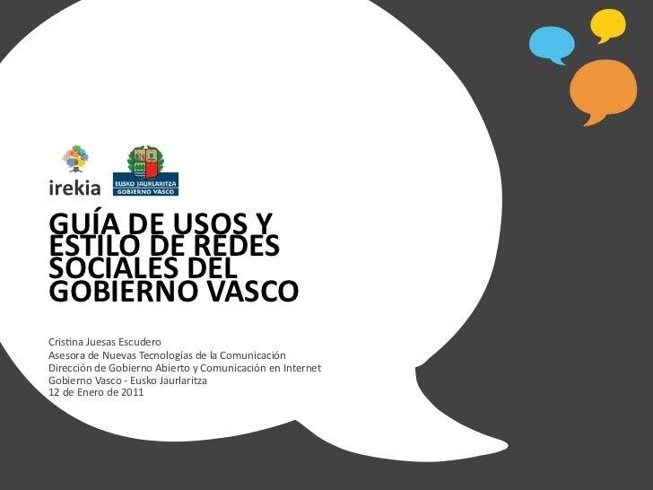 Guía de usos y estilo de Redes Sociales del Gobierno Vasco