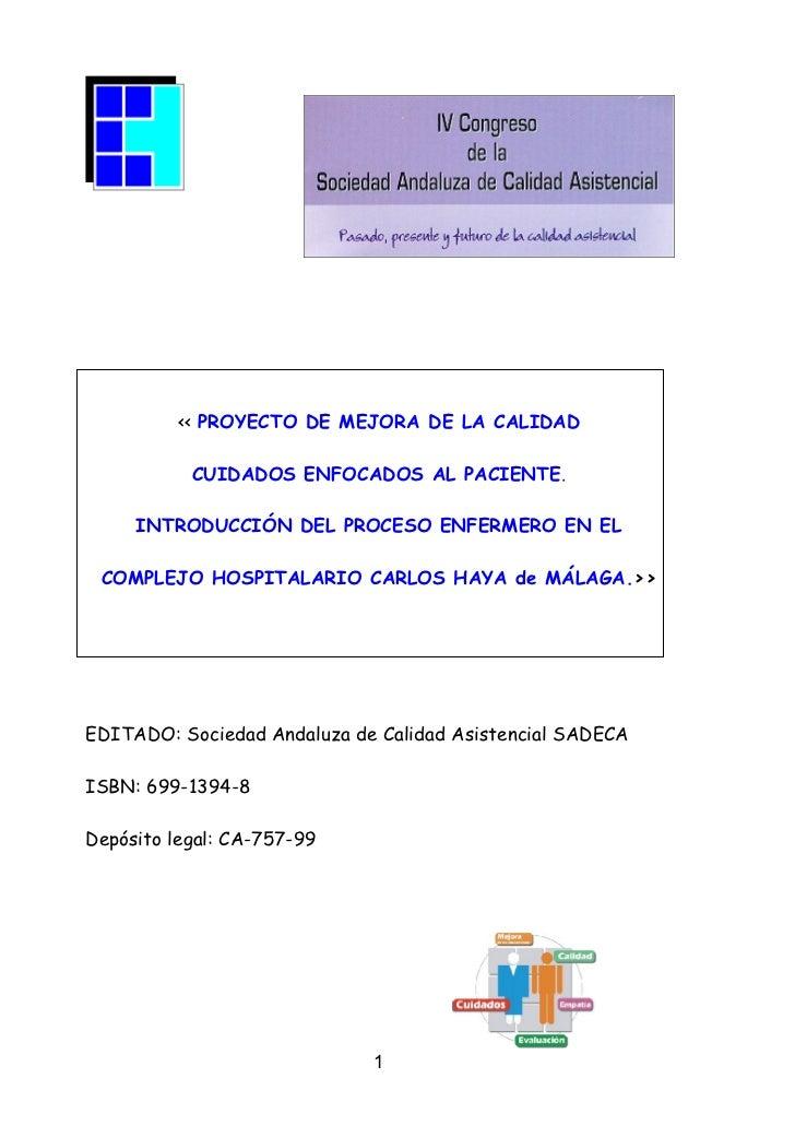 PROYECTO DE MEJORA DE LA CALIDAD ASISTENCIAL. (Comunicación a Congreso, SADECA)