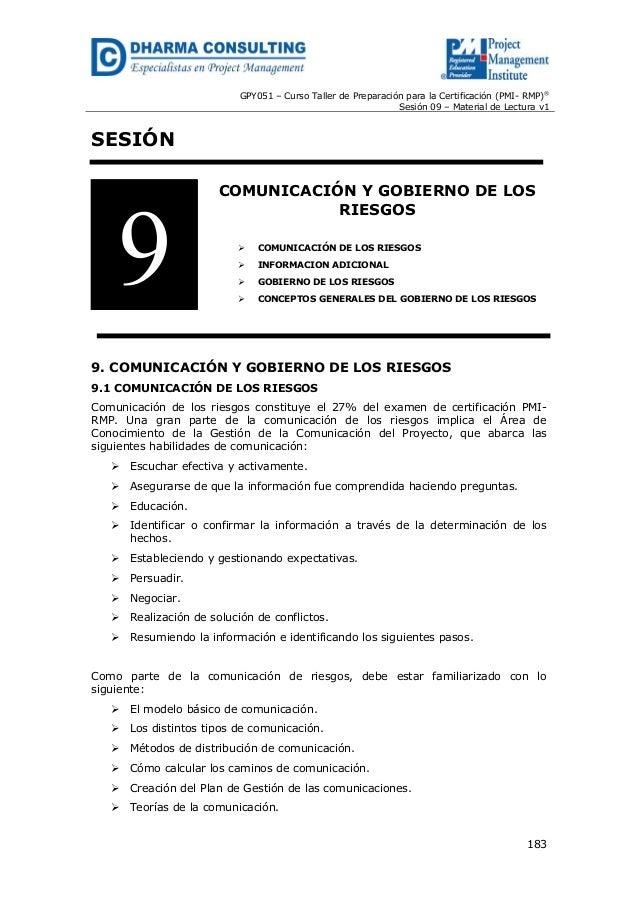 GPY051 – Curso Taller de Preparación para la Certificación (PMI- RMP) ® Sesión 09 – Material de Lectura v1  SESIÓN  9  COM...