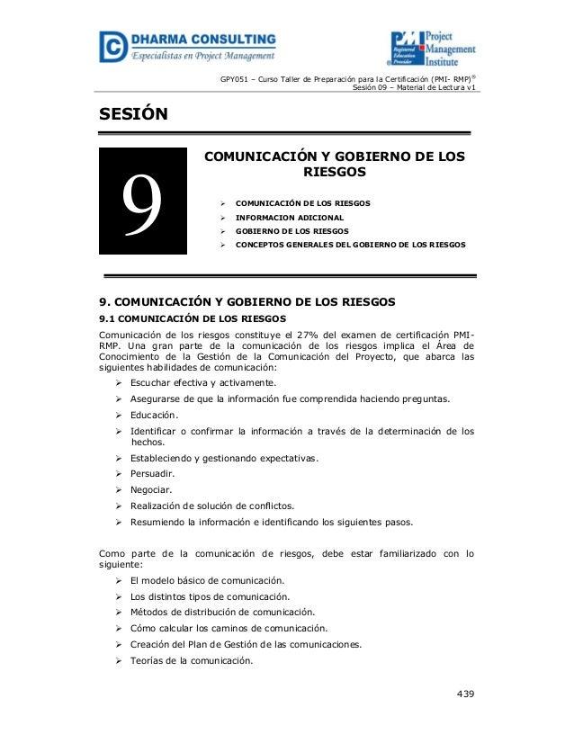 GPY051 – Curso Taller de Preparación para la Certificación (PMI- RMP)® Sesión 09 – Material de Lectura v1  SESIÓN  9  COMU...