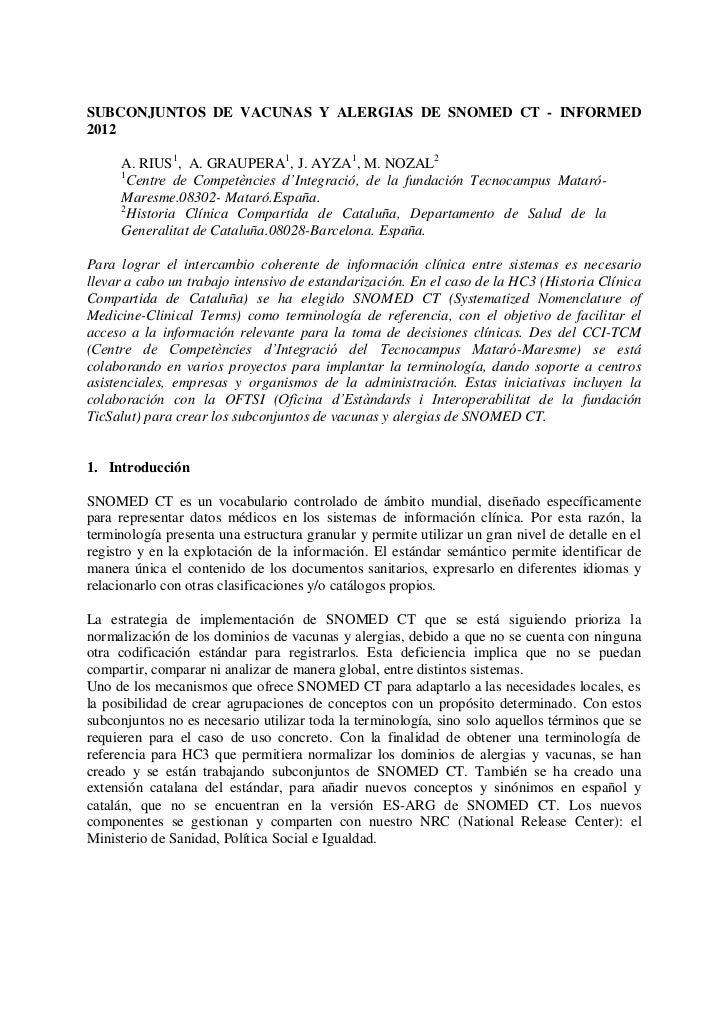 SUBCONJUNTOS DE VACUNAS Y ALERGIAS DE SNOMED CT - INFORMED2012     A. RIUS1, A. GRAUPERA1, J. AYZA1, M. NOZAL2     1      ...