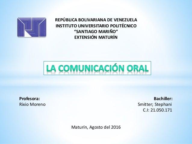 "REPÚBLICA BOLIVARIANA DE VENEZUELA INSTITUTO UNIVERSITARIO POLITÉCNICO ""SANTIAGO MARIÑO"" EXTENSIÓN MATURÍN Profesora: Bach..."