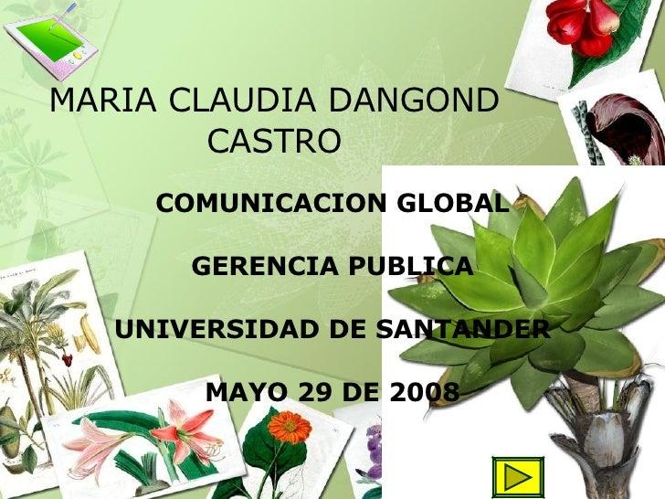 MARIA CLAUDIA DANGOND CASTRO COMUNICACION GLOBAL GERENCIA PUBLICA UNIVERSIDAD DE SANTANDER MAYO 29 DE 2008