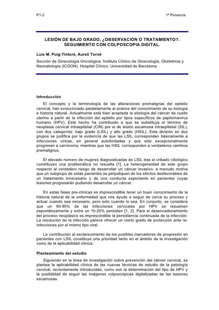 LESIÓN DE BAJO GRADO, ¿OBSERVACIÓN O TRATAMIENTO?. SEGUIMIENTO CON COLPOSCOPIA DIGITAL.
