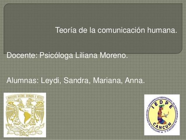 Teoría de la comunicación humana. Docente: Psicóloga Liliana Moreno. Alumnas: Leydi, Sandra, Mariana, Anna.