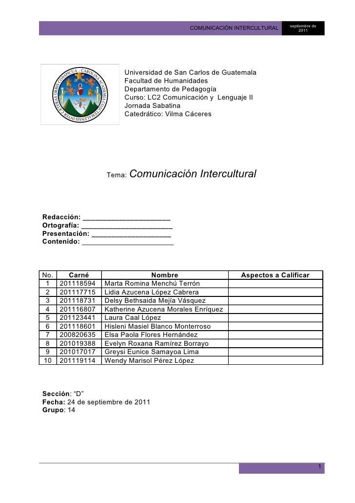 septiembre de                                          COMUNICACIÓN INTERCULTURAL        2011                       Univer...