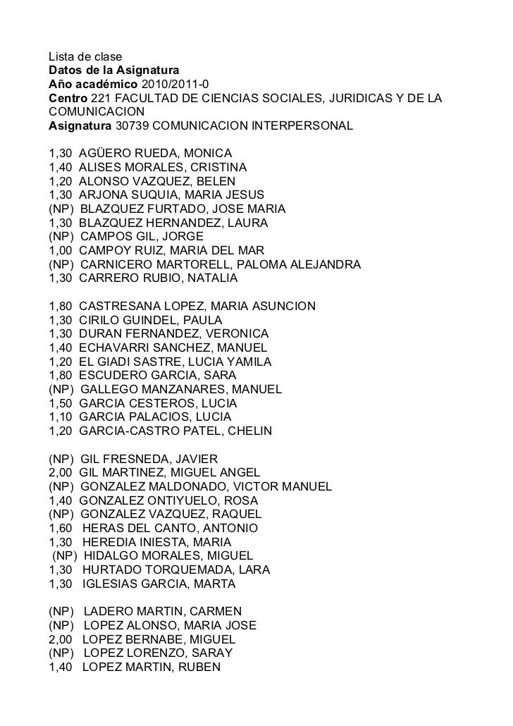 Lista de claseDatos de la AsignaturaAño académico 2010/2011-0Centro 221 FACULTAD DE CIENCIAS SOCIALES, JURIDICAS Y DE LACO...