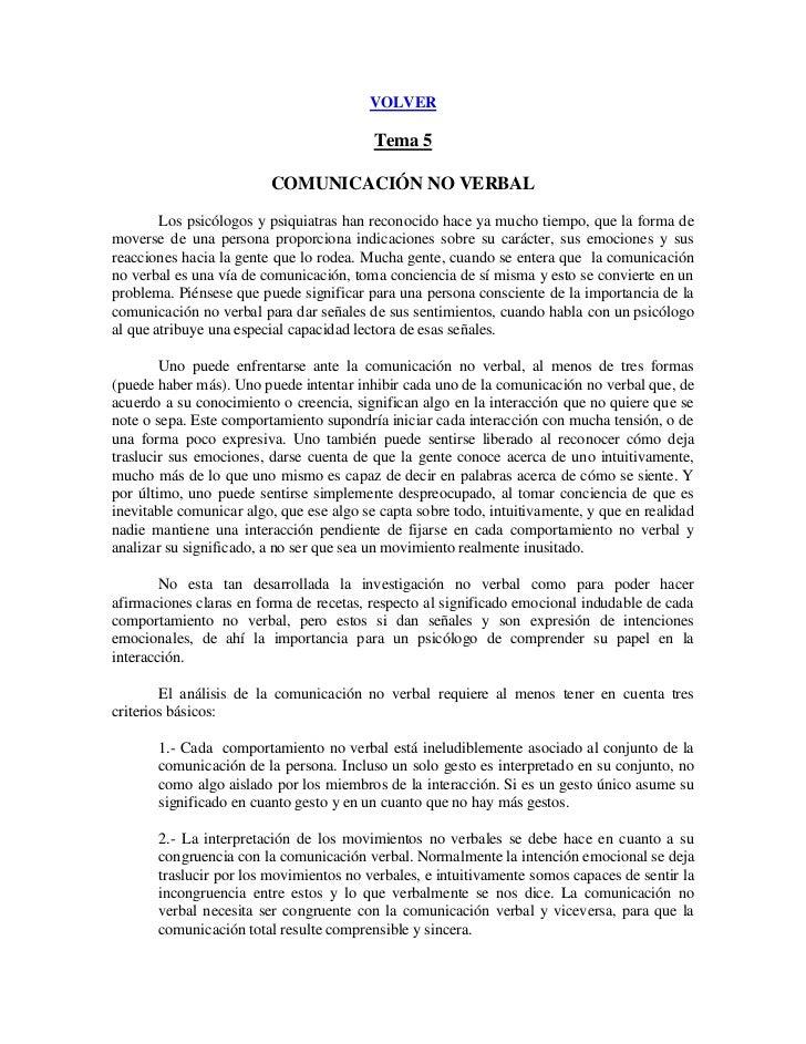 VOLVER                                          Tema 5                         COMUNICACIÓN NO VERBAL        Los psicólogo...