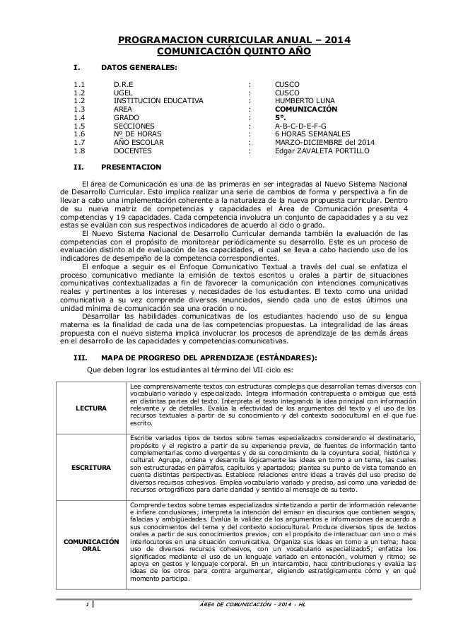 Comunicacion programación  anual _5º_2014_con rutas de aprendizaje