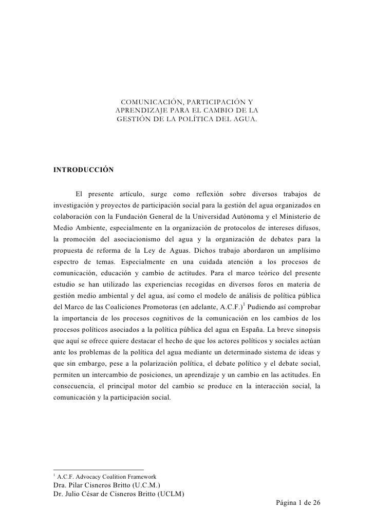 COMUNICACI€N, PARTICIPACI€N Y                        APRENDIZAJE PARA EL CAMBIO DE LA                        GESTI€N DE LA...