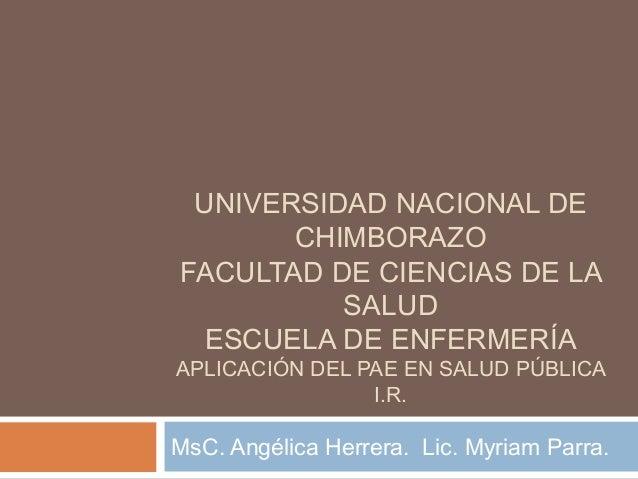 UNIVERSIDAD NACIONAL DE       CHIMBORAZOFACULTAD DE CIENCIAS DE LA          SALUD  ESCUELA DE ENFERMERÍAAPLICACIÓN DEL PAE...