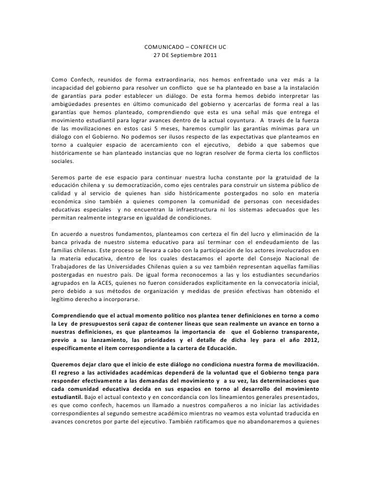 Comunicado CONFECh 27 Septiembre
