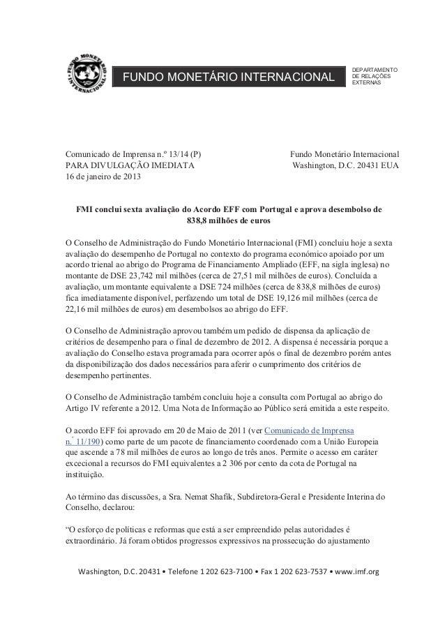 DEPARTAMENTO                FUNDO MONETÁRIO INTERNACIONAL                                   DE RELAÇÕES                   ...
