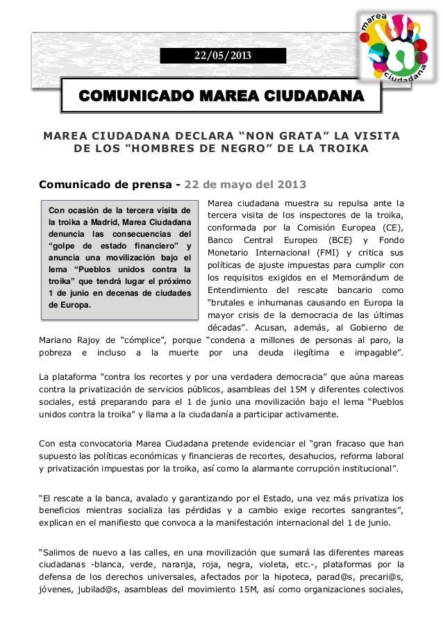 """Con ocasión de la tercera visita dela troika a Madrid, Marea Ciudadanadenuncia las consecuencias del""""golpe de estado finan..."""