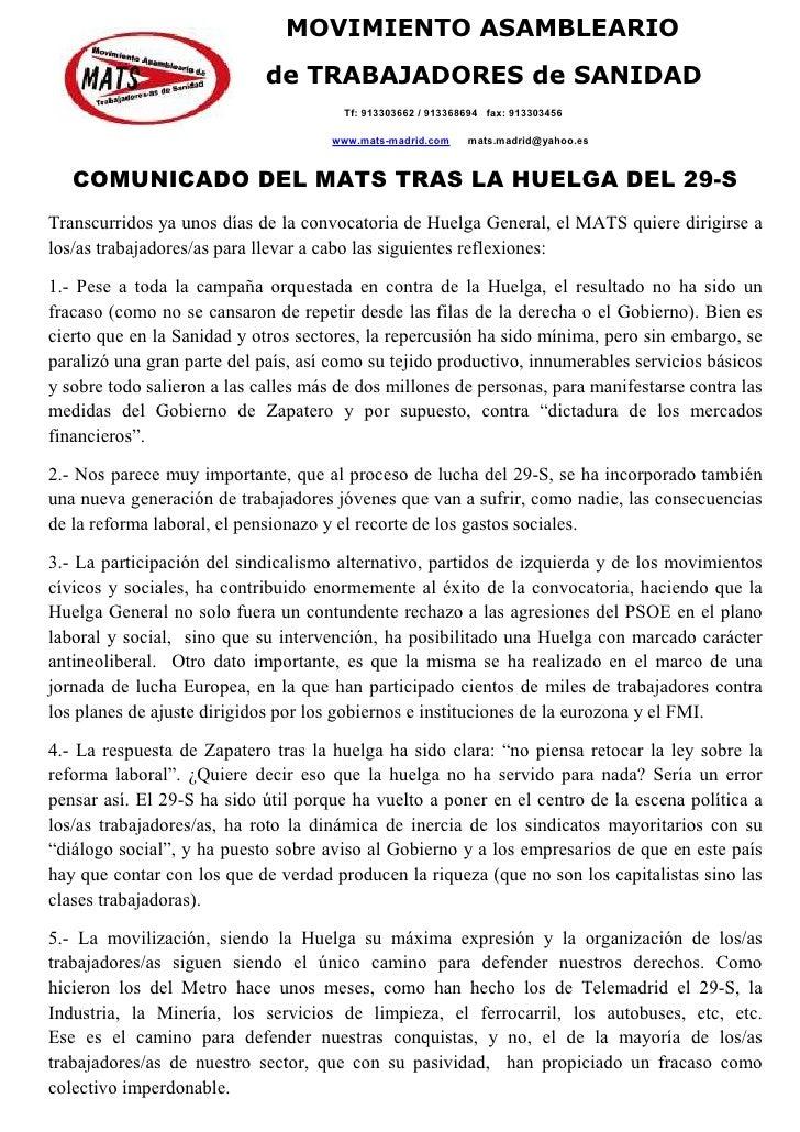 MOVIMIENTO ASAMBLEARIO                              de TRABAJADORES de SANIDAD                                        Tf: ...