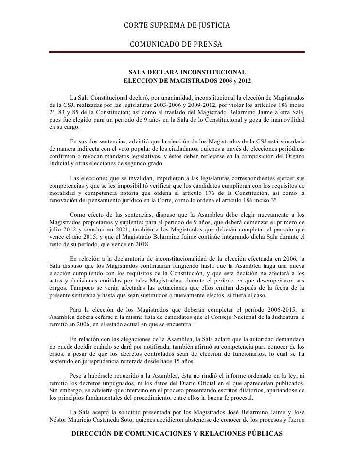 Comunicado de prensa de la CSJ sobre la sentencia de la Sala de lo Constitucional