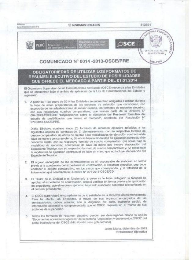 COMUNICADO N° 0014-2013-OSCE/PRE
