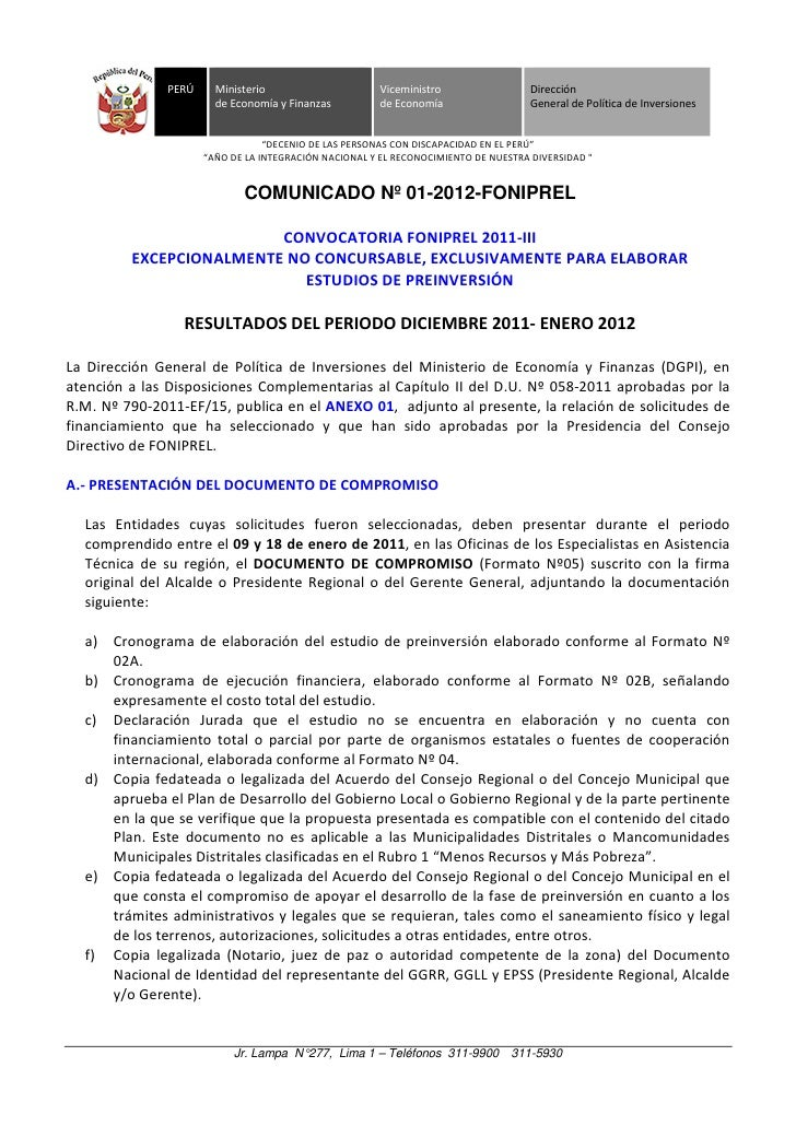 PERÚ     Ministerio                     Viceministro                 Dirección                       de Economía y Finanza...