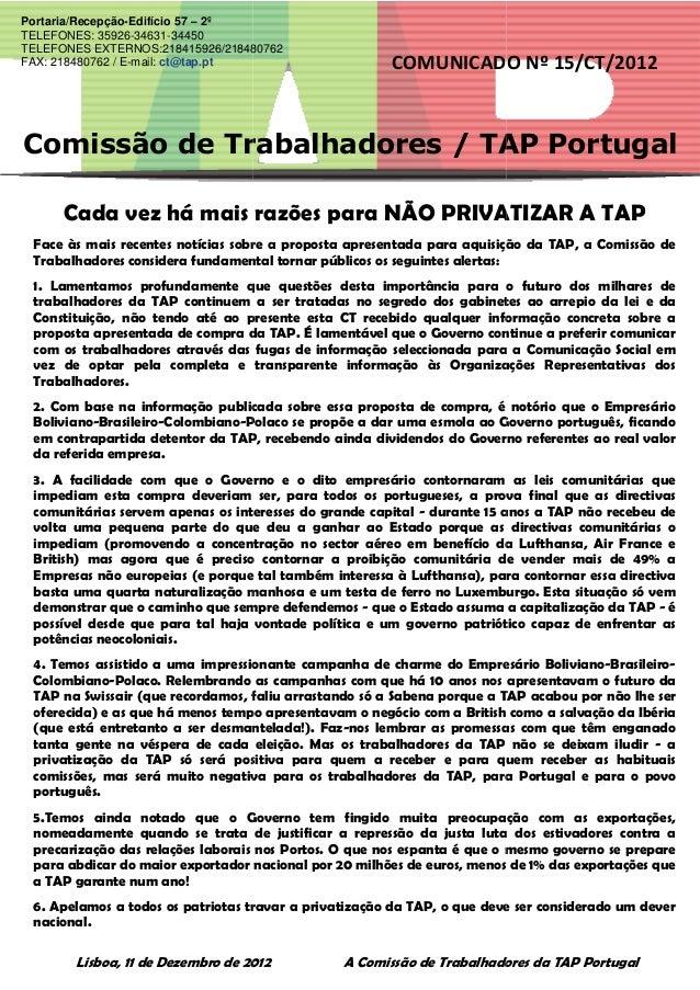 Comissão de Trabalhadores / TAP PORTUGAL